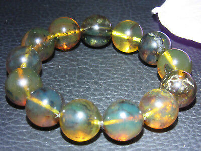 Dominican Amber Bracelet Green Bangle Bead about 16-17mm sphere ball(29.2g)#1078