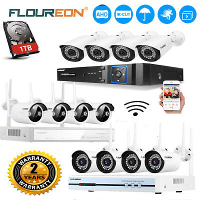 Outdoor Wireless CCTV Home Security Video Camera IP System 1080P 4CH 8CH DVR 1TB
