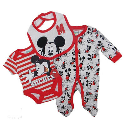 3 Piece Boys Babygrow/Sleepsuit Superman/Mickey Mouse Clothing Gift Set NB-3-6mt