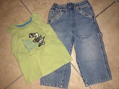 Boys Size 24 Months Two Piece Lot Childrens Place Blue Denim Jeans Green Dino Sh