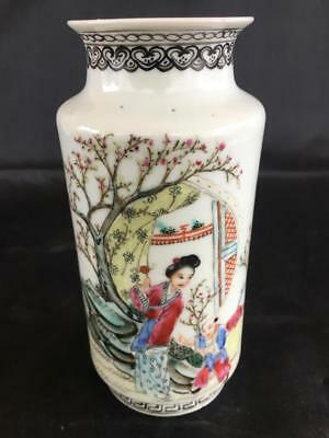 Good Antique Chinese Republic Porcelain Hand Painted Calligraphy Vase