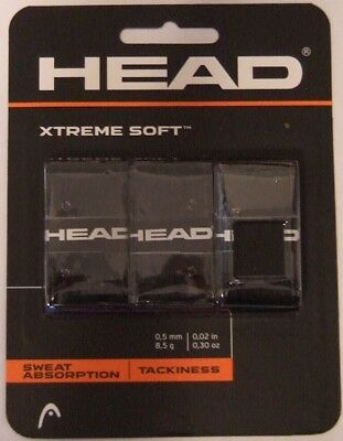 NEW Head Xtreme Soft Tennis Overgrip BLACK 3 Pack Xtremesoft over grip