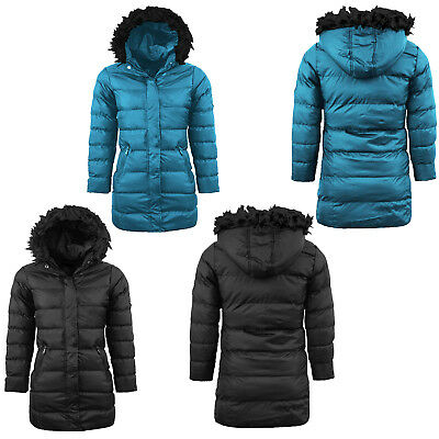 Girls Padded Jacket Fur Hooded Puffer Warm Quilted Winter Wear Parka Bubble Coat