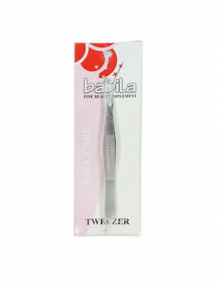 Plukker Babila Tweezer Square Tip In Stailness Steal with Matte finishing