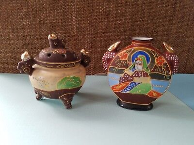 2 Hand Painted SNUFF Jar / Bottle  Scenes Ladies Ceramic Containers