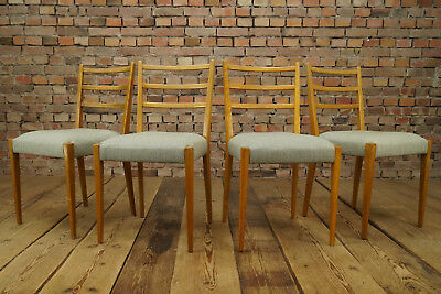60er 4 x Dining Room Chairs Mid-Century Danish Modern Chair Padded 50er 1/2