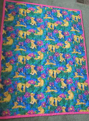 Large Handmade Baby or Infant Quilt with cute Disney's Simba lion theme 53 X 41