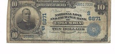 1902 Series $10 National Loan And Exchange Bank of Columbia Charter 6871
