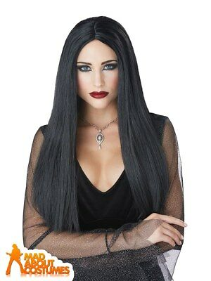 Gothic Morticia Matriarch Black Wig Witch Halloween Horror Fancy Dress Accessory