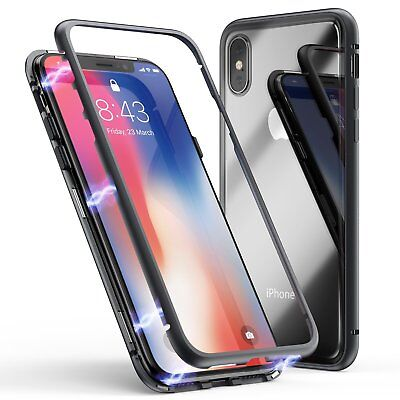 iPhone 8 Plus 7 plus Case Tech™ Magnetic Metal Frame Tempered Glass Back Cover