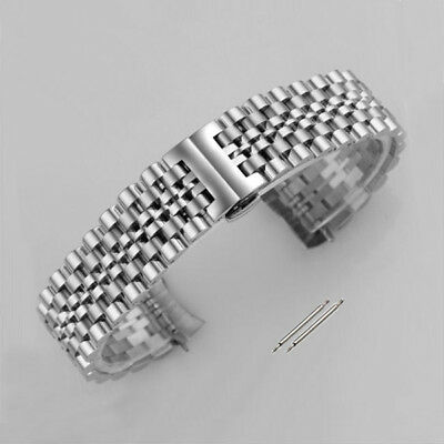 Curved Stainless Steel Metal Bracelet Clasp Replacement Watch Band Silver Strap