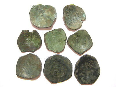Lot of 8 Byzantine Bronze Cup Coins