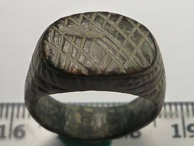204	Ancient Roman bronze ring with a decoration 17 mm