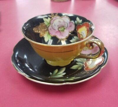 Vintage Merit Made In Occupied Japan Tea Cup And Saucer Design Flowers