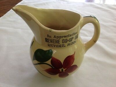 Revere Co - Op Oil Stoneware Advertising Pitcher, Revere, Minn.