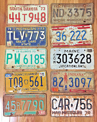 10 Pack of Rustic/worn License Plates From at Least 5 Different States