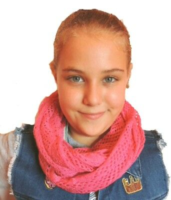 NEW COPPER KEY Girls Pink Crocheted Infinity Scarf 5 6 7 8 10 12 14 16 yrs