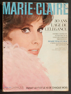 'marie-Claire' French Vintage Magazine Gina Lollobrigida Cover 15 October 1965