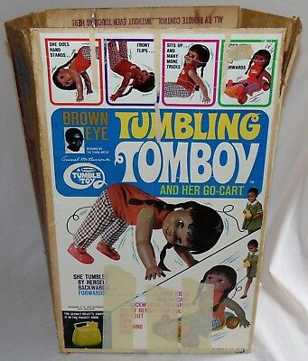 Vintage Remco Tumbling Tomboy Doll With Original Box Used African American AA