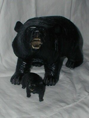 Antique Carved Black Forest Large Wood Wooden Bear With Hump & Glass Eyes & Cub