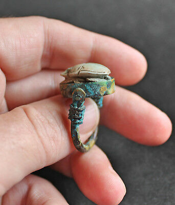 Antique Egyptian scarab Copper and  Stone Faience glazed  Galss Ring