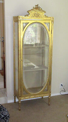 Gorgeous Antique French Gold Gilt Vitrine Curio Display Cabinet