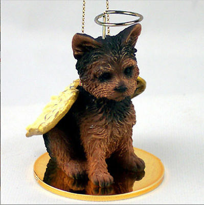 Yorkie Ornament Angel Figurine Hand Painted Puppy Cut