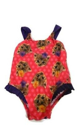 Childrens Place Baby Girls Swimsuit 9-12 Months Pink One-Piece Cats Ruffles