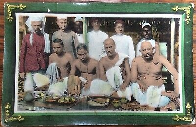 Antique Coloured Pc Group Of Hindu Holymen Performing A Puja Ritual Onlookers