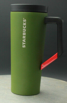 New Starbucks Stainless Steel Clip on Handle Tumbler 16oz, Kelly Green