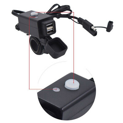 Motorcycle SAE to USB Cable Charger Adapter 2.1A Dual Port Power Socket Devices