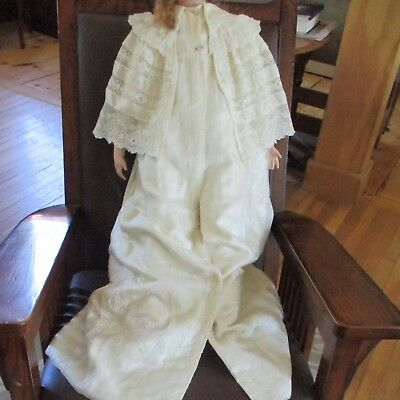 Antique Silk Lace Christening Coat for Baby Or Doll