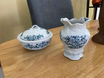 Antique (1902-1926) Dudson, Wilcox & Till England 3 piece covered dish and vase