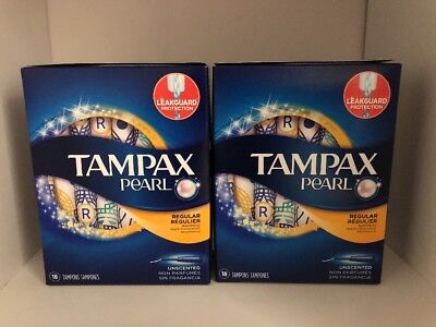 Pack Of 2 Tampax Pearl Unscented Regular Absorbency Tampons (18 Count Each)