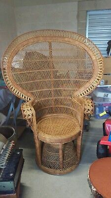 "Large Vintage 58"" tall 60s 70s Authentic Wicker Peacock Fan Chair Retro Rattan"