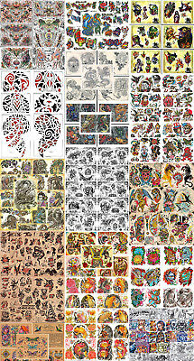 """Huge Tattoo Flash Collection, Lot, Traditional 132 Sheets 11x14"""" Skulls, Eagles"""