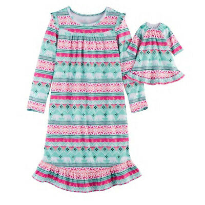 Girl 4-12 and Doll Matching Fair Isle Nightgown Clothes American Girl Dollie Me