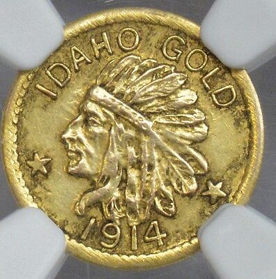 NGC 1914 $1 MS61 Hart's coins of the west Idaho Gold Indian, very rare coin