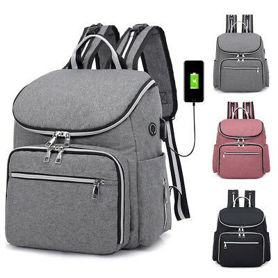 Large Mummy Diaper Bag USB/Earphone Port Baby Nappy Travel Backpack Bottle Hold