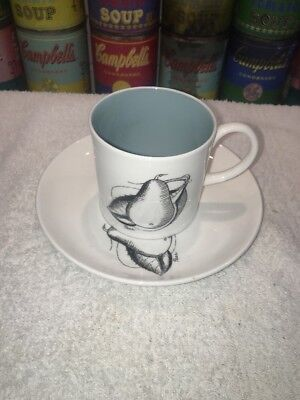 Susie Cooper BLACK FRUIT PEAR Demitasse After Dinner Tea Coffee Cup & Saucer