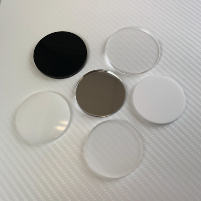 Plastic Acrylic Circles Discs 3mm / 5mm - Black White Clear Frosted Opal Mirror