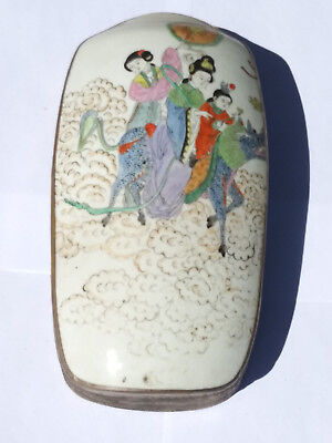LARGE Antique Chinese Porcelain Shard in Silver Plated Box Painted with Guan Yin