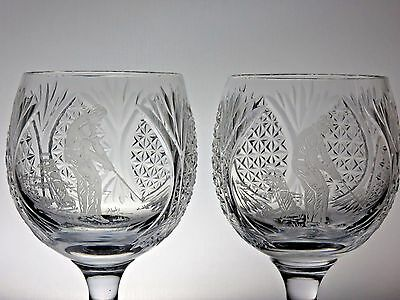 ANTIQUE PAIR OF CUT CRYSTAL LARGE GOBLET GLASSES ETCHED GOLFER DESIGN 17cm