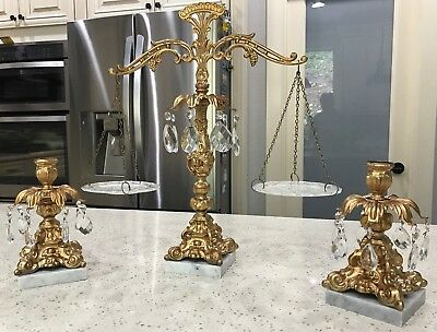 Vintage Brass  Candle Holders & scale  on Marble Base With Crystal Prisms