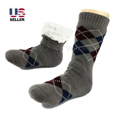 Mens Thick Thermal Sherpa Lined Fur Soft Knit Warm Non-Skid Slipper Socks 8-12