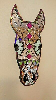 Horse lover mosaic glass mirror plaque wall hanging handmade western country