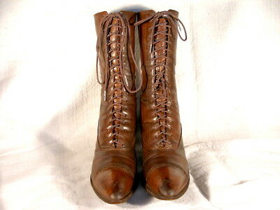 Antique Edwardian Period Brown Leather Lace Up Boots EU36