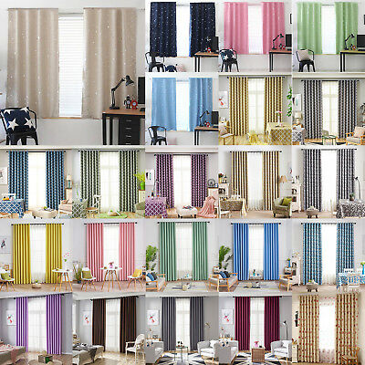 Thermal Blackout Curtains Ready Made Eyelet Ring Top Shading Drapes Panel Window