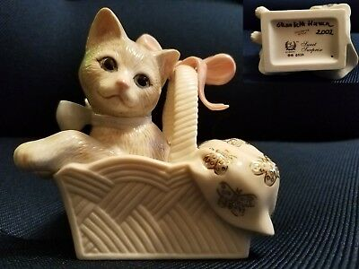 LENOX SWEET SURPRISE KITTEN CAT in BASKET Fine CHINA 2002 Signing Event SIGNED