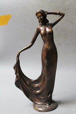 Victorian Nude Female with Tulip Brass Sculpture Home/Office Decoration